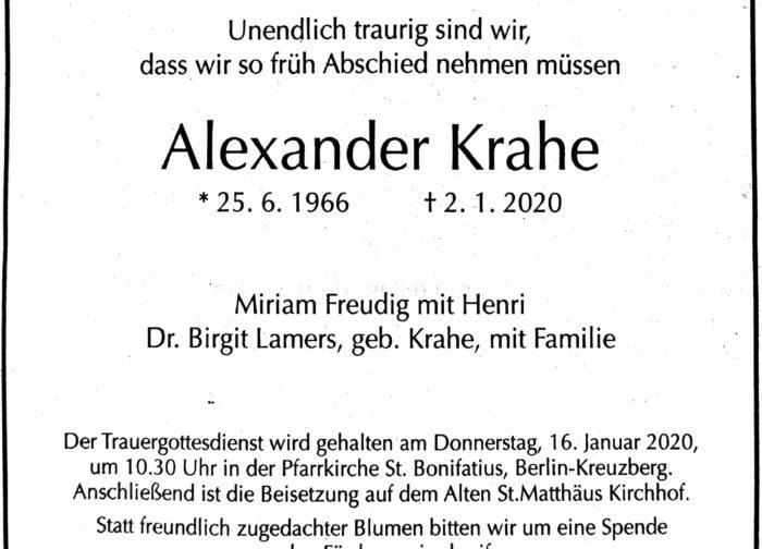 Nachruf Alexander Krahe